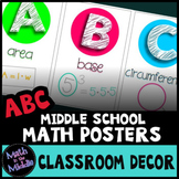 Middle School Math Classroom Decor Alphabet