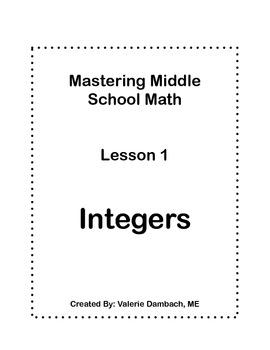 Middle School Math Common Core Unit : Integers