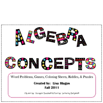 Middle School Math Concept Activities:  Coloring, Riddles,