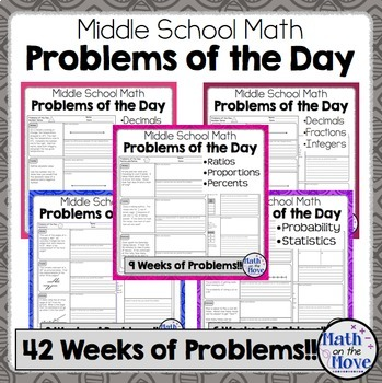 Daily Word Problems for Middle School Math - BUNDLE