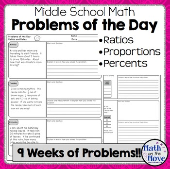Daily Word Problems for Middle School Math - Ratios and Pr