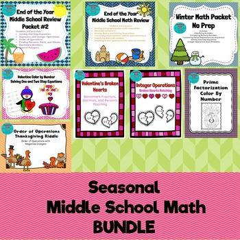 Middle School Math Holiday BUNDLE