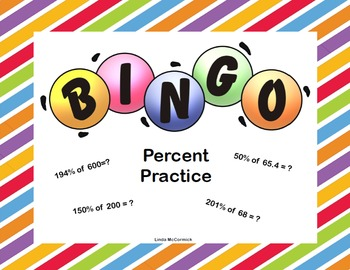 Middle School Math -  Percent Practice Editable Bingo Game