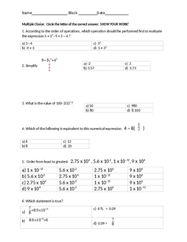 Middle School Math Review 1st Semester
