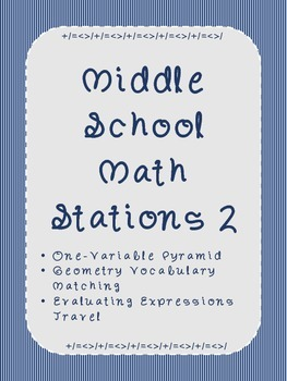 Middle School Math Stations 2: Skill Building Games for Ma
