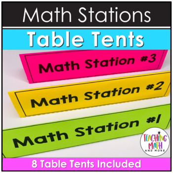 Middle School Math Stations: NO PREP Table Tents FREEBIE