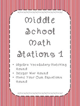 Middle School Math Stations: Skill Building Games for Math