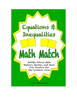 Common Core Math Stations and Games - Inequality and Equat