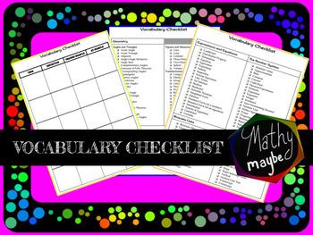 Middle School Math Vocabulary Checklist (8th Grade)