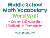Middle School Math Vocabulary Word Wall - Editable Templat