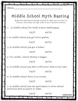 Middle School Move Up' Fact/Myth Freebie