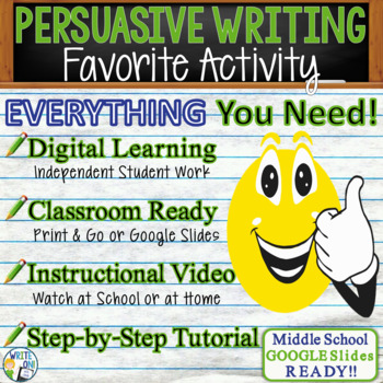 PERSUASIVE WRITING PROMPT - Favorite Activity - Middle School