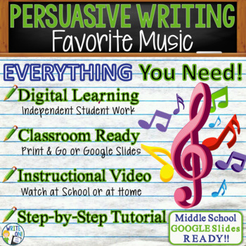 PERSUASIVE WRITING PROMPT - Favorite Music - Middle School