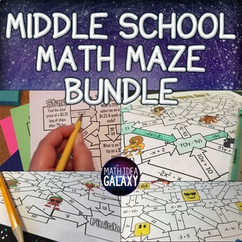 Middle School Pre-Algebra and Geometry Maze Pack