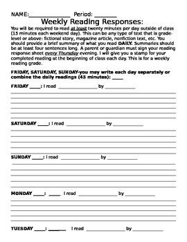 Middle School Reader's Response Sheet