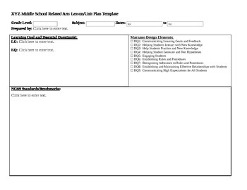Middle School Related Arts Lesson Plan Template