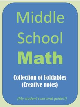 """MATH Middle School Collection of over 30 Foldables!! """"Stud"""
