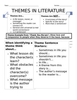 Middle School Theme Handout