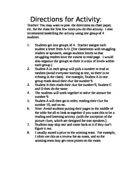 Middle School Vocabulary Review Jigsaw Game