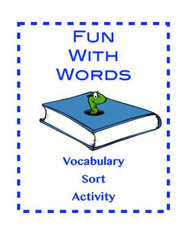 Middle School Vocabulary Word Sort Activity