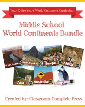 Middle School World Continents Bundle Gr. 5-8