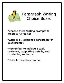 Middle School Writing Choice Board