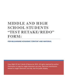 Middle and High School Redo-Retake Form