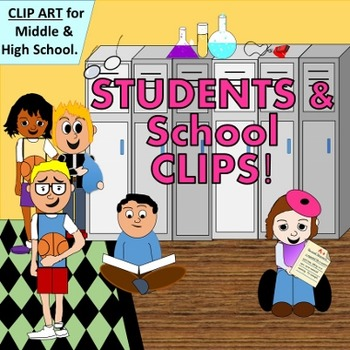 Middle and High School Students with Props - CLIP ART for
