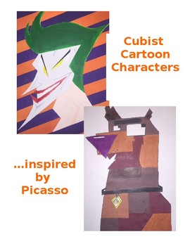 Middle or High School Art Project: Cubist Cartoon Characte