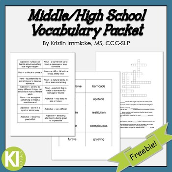 Middle/High School Vocabulary Packet
