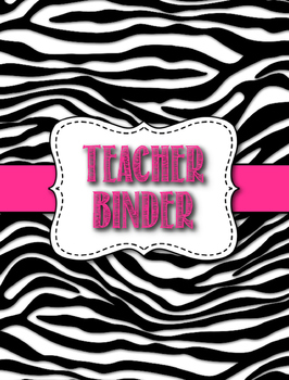 Middle/High School Zebra Theme Teacher Binder - Editable