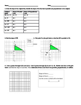 Midpoint, Slope, Distance, Parallel and Perpendicular Line