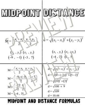 Midpoint and Distance Formula Foldable Graphic Organizer I