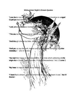 Midsummer Night's Dream Quotes (rewrite Shakespeare)