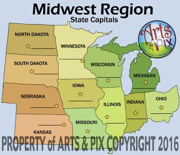 """! """"Midwest Region States"""" - ClipArt - Map"""