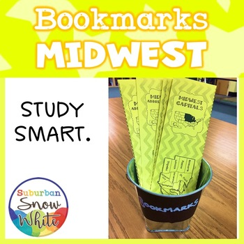 Midwest States Bookmarks with States, Capitals, and Abbreviations