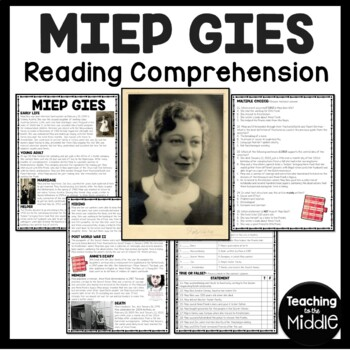 Miep Gies Biography Reading Comprehension, Diary of a Youn