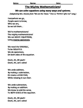 Mighty Mathematicians Math Chant about Solving Equations (