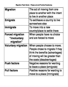 Migration Flash Cards