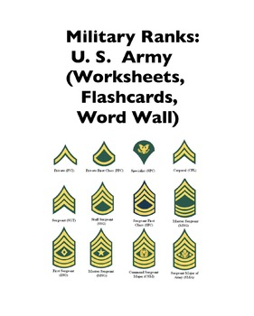 Military Ranks: U.S. Army (Worksheets and Word Walls)