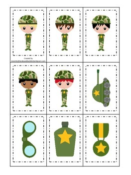 Military Support Our Troops (boys) Memory matching prescho