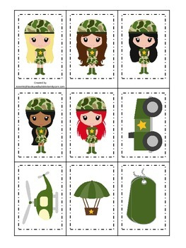Military Support Our Troops (girls) Memory Matching presch