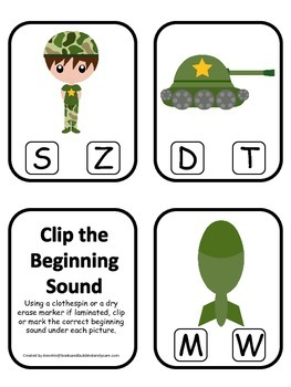 Military Support Our Troops themed Beginning Sound Clip it