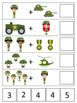Military Support Our Troops themed Math Addition preschool
