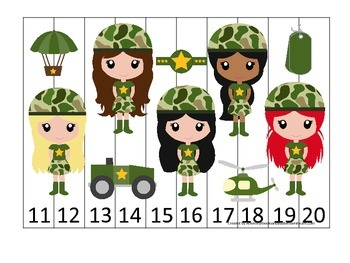 Military Support Our Troops themed Number Sequence Puzzle