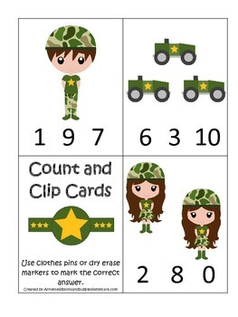 Military Support Our Troops themed Numbers Count and Clip