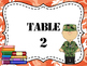 Military Themed Group/Table Signs