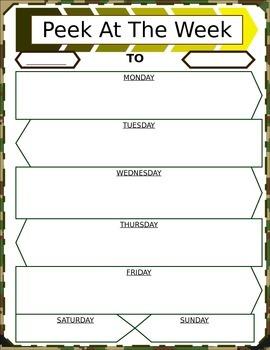 Military Themed Student Agenda/Peek at the Week *Customizable*