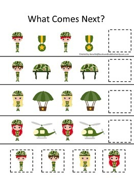 Military What Comes Next preschool math game.  Printable d