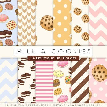 Milk and Cookies Digital Paper, scrapbook backgrounds